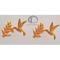 boucles doreilles colibri-balisier.Or 750/1000