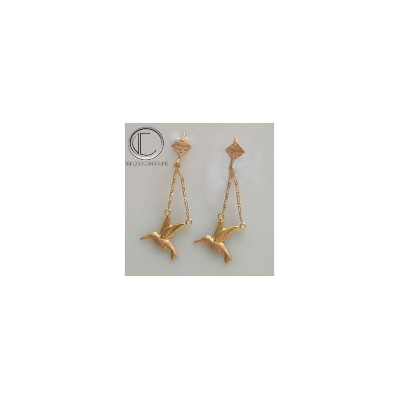 Boucles d'oreilles colibris.OR 750/1000