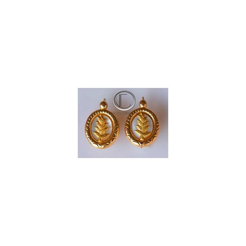 Boucles d'oreilles balisier.Or 750/1000