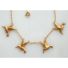 Collier colibris.Or 18carats.