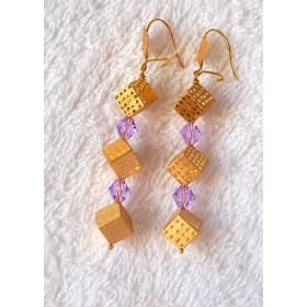 Boucles d oreilles cubes.Or 750/1000