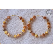 Boucles cubes.Or 750/1000