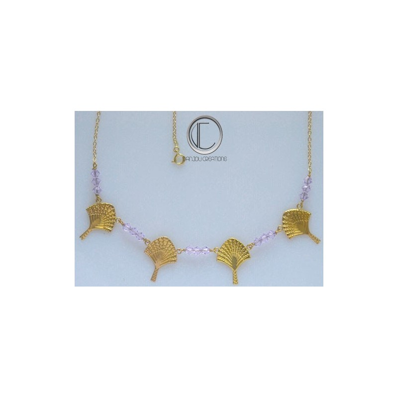 Traveller-tree necklace. gold 750/1000