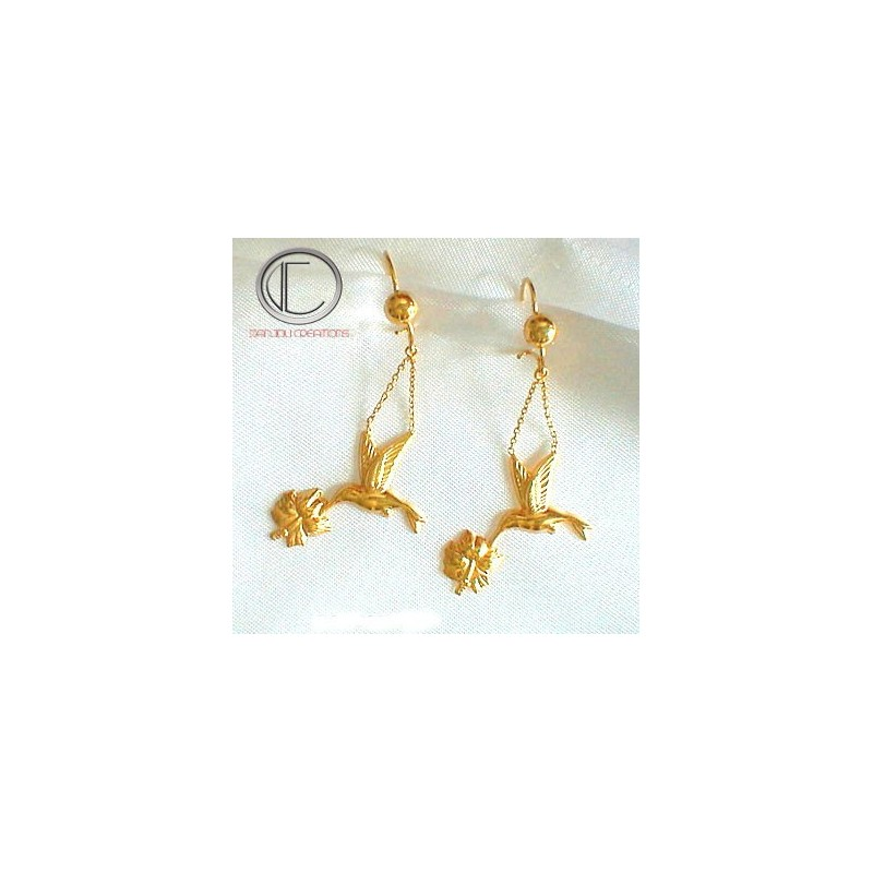 HUMMING-BIRD EARRING.750/1000 Gold.
