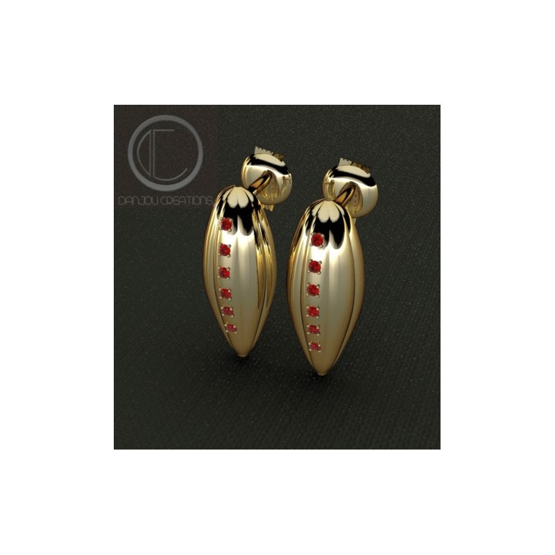 Earrings pods of cocoa.750/1000 gold