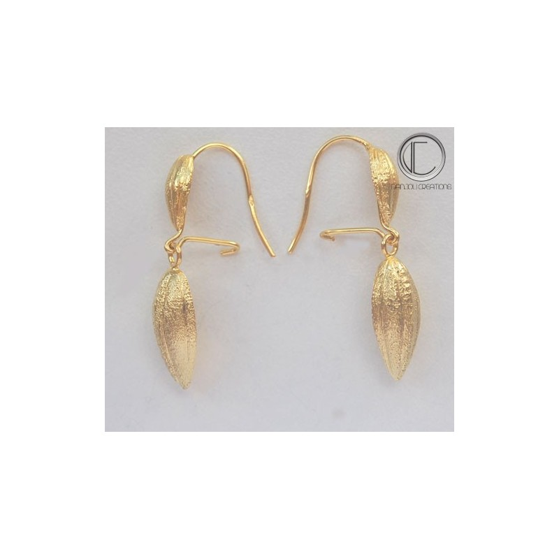 BOUCLES CABOSSES DE CACAO.Or 750/1000
