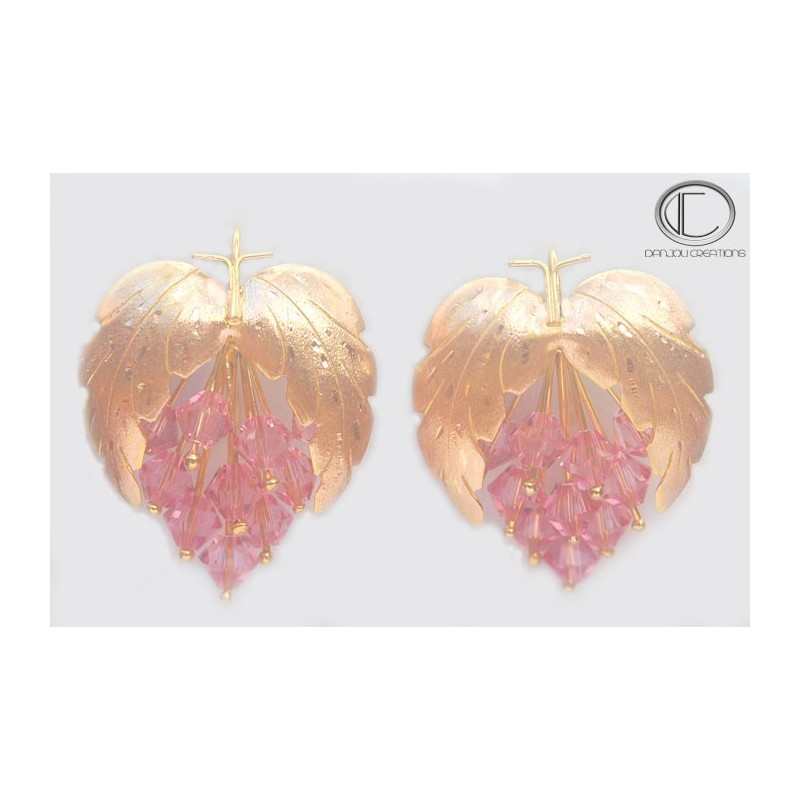 Boucles d'oreilles vignes.Or 750/1000
