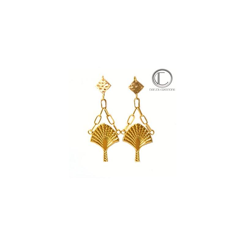 Boucles d'oreilles Arbre du voyageur.Or 750/1000