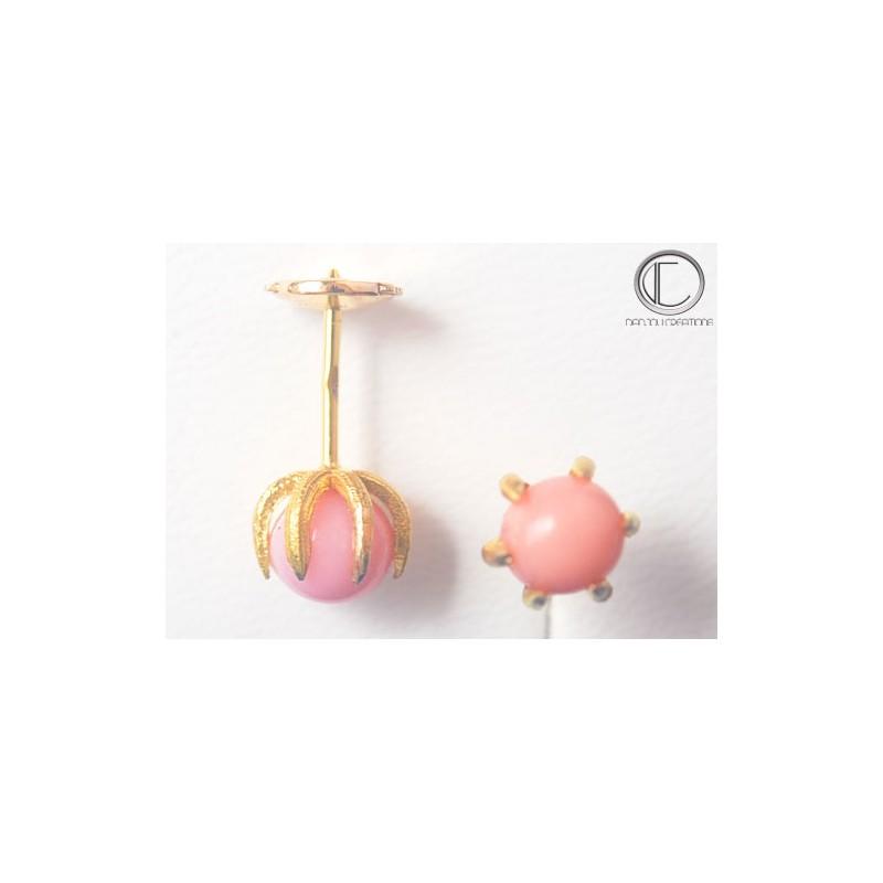 Conch pearl earrings.single stone. 750/1000GOLD